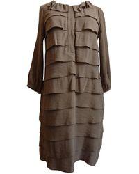 Sandro - Robe courte rayonne 70% polyester 30% marron - Lyst