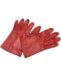 Dior Gants cuir verni rouge Taille unique
