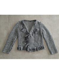 Maje Gilet, cardigan acrylic viscose polyester laine mohair gris