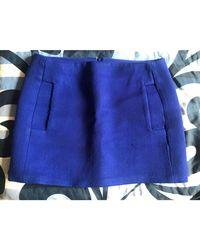 Maje - Jupe courte laine bleu - Lyst