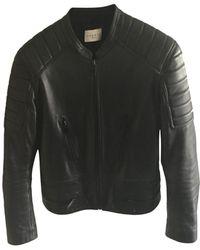 Sandro Veste en cuir cuir noir