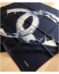 Chanel Foulard soie bleu