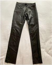 JOSEPH - Pantalon droit cuir noir - Lyst