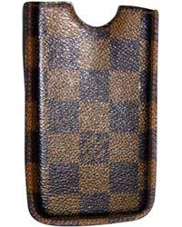 Louis Vuitton Etui iPhone cuir marron