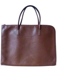Longchamp Porte document, serviette cuir marron