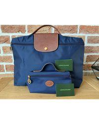 Longchamp Porte documents, serviette tissu Pliage bleu