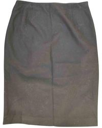 Jil Sander - Jupe mi-longue laine noir - Lyst