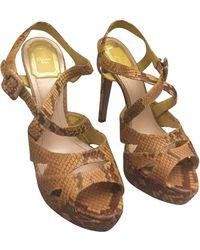 Dior Sandales à talons python jaune - Multicolore