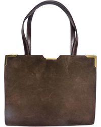 Balmain - Sac à main en cuir daim marron - Lyst