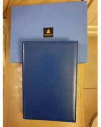 Lanvin Porte documents, serviette cuir bleu