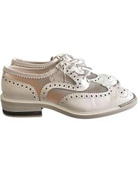 Blanc Cuir Lacets Chaussures Chaussures À vIgymY76bf