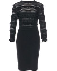 Oscar de la Renta Robe mi-longue soie noir