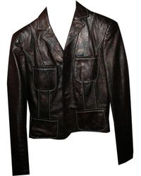 Christian Lacroix - Veste en cuir cuir marron - Lyst