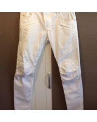 Balmain Pantalon slim coton blanc