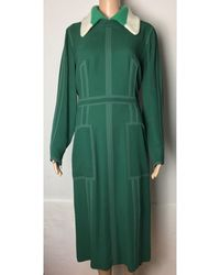 Burberry - Robe mi-longue viscose vert - Lyst