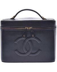 Chanel Sac à main en cuir cuir irisé noir