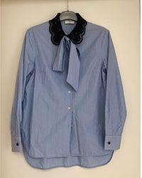 Sandro - Chemisier coton bleu - Lyst