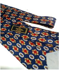 Fendi Cravate soie multicolore - Bleu