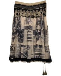 Jean Paul Gaultier - Jupe mi-longue soie multicolore - Lyst