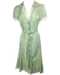Moschino - Robe mi-longue soie vert - Lyst