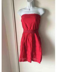 Sandro - Robe courte coton rouge - Lyst