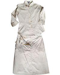 Burberry Tailleur jupe coton blanc