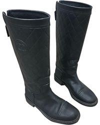 Chanel Bottes cavalières cuir noir