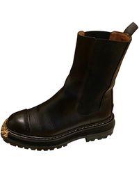 Sandro Bottines & low boots motards cuir noir