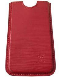 Louis Vuitton Etui iPhone cuir rouge