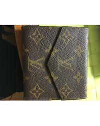 Louis Vuitton Porte-monnaie cuir + toile enduite Elise marron
