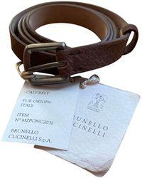 Brunello Cucinelli - Ceinture fine cuir beige - Lyst