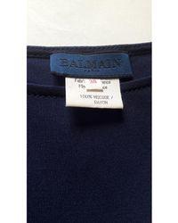 Balmain Robe mi-longue viscose bleu