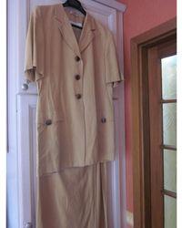 Max Mara Tailleur jupe soie beige - Neutre