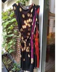 Lanvin - Robe mi-longue coton noir - Lyst