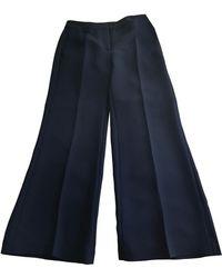 Sandro Pantalon droit polyester bleu
