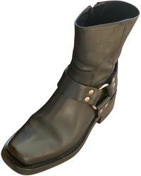 The Kooples - Bottines & low boots motards cuir noir - Lyst