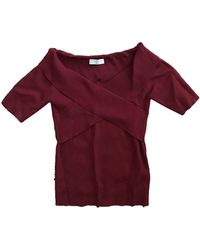 Sandro - Top, tee-shirt viscose rouge - Lyst