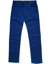 The Kooples - Pantalon droit coton bleu - Lyst