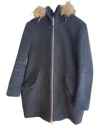 Sandro - Manteau laine noir - Lyst