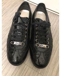Dior Baskets cuir verni noir