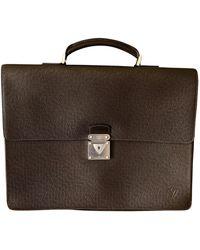 Louis Vuitton Porte document, serviette cuir marron