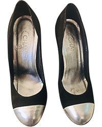 Chanel Escarpins compensés velours noir