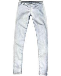 Rick Owens - Pantalon slim, cigarette coton bleu - Lyst