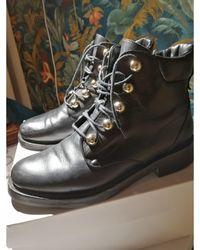 Claudie Pierlot Bottines & low boots motards cuir noir