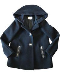 Sandro Manteau laine mélangée noir