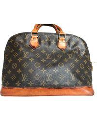 Louis Vuitton Sac à main en tissu toile Alma marron