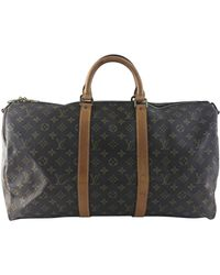 Louis Vuitton Sac XL en cuir cuir Keepall marron