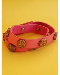 Tory Burch - Bracelet cuir rose - Lyst