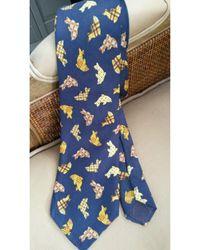 Dior Cravate soie bleu