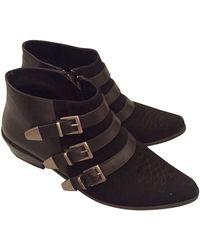 Anine Bing - Bottines & low boots motards daim noir - Lyst